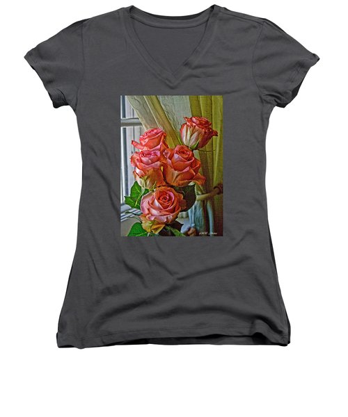 Women's V-Neck T-Shirt (Junior Cut) featuring the photograph Cindy's Roses by Bonnie Willis