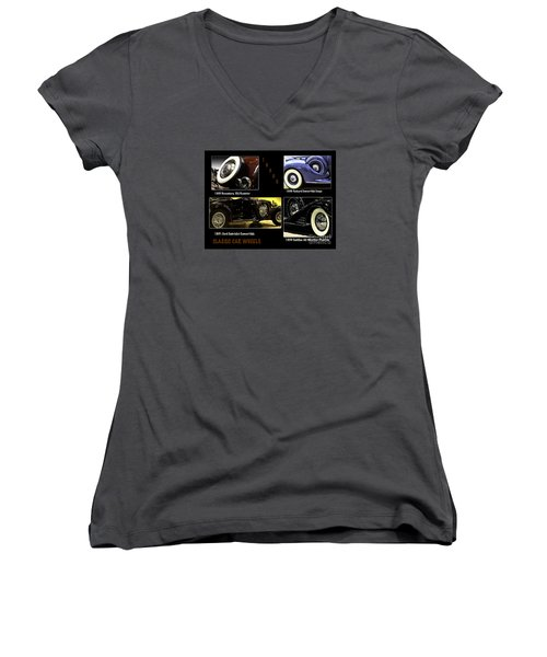 Women's V-Neck T-Shirt (Junior Cut) featuring the photograph Classic Car Wheels by Nancy Marie Ricketts