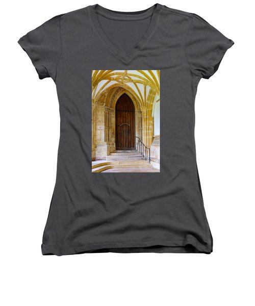 Cloisters, Wells Cathedral Women's V-Neck (Athletic Fit)