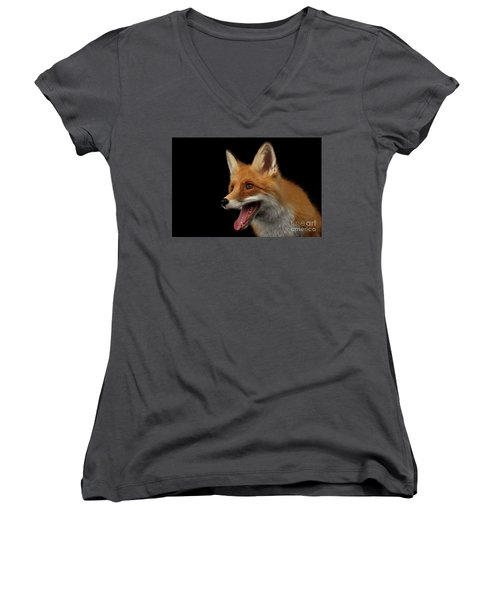 Closeup Portrait Of Smiled Red Fox Isolated On Black  Women's V-Neck (Athletic Fit)