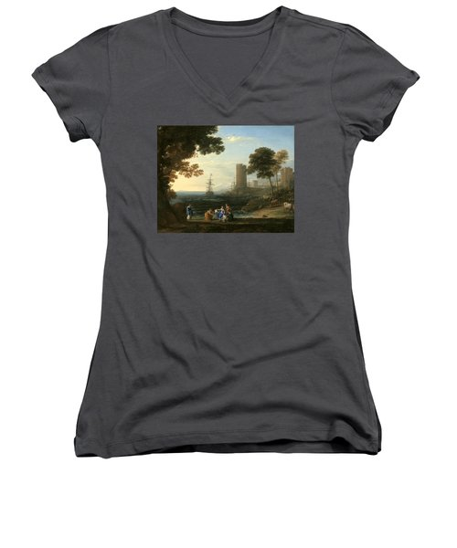 Coast View With The Abduction Of Europa Women's V-Neck (Athletic Fit)