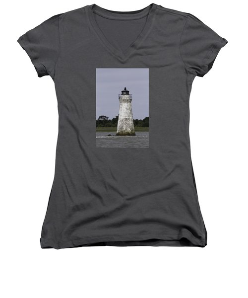 Cockspur Lighthouse Women's V-Neck T-Shirt (Junior Cut) by Elizabeth Eldridge