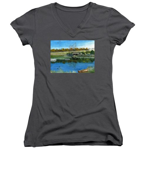 Women's V-Neck T-Shirt (Junior Cut) featuring the painting Cole Hill Pond by Melly Terpening