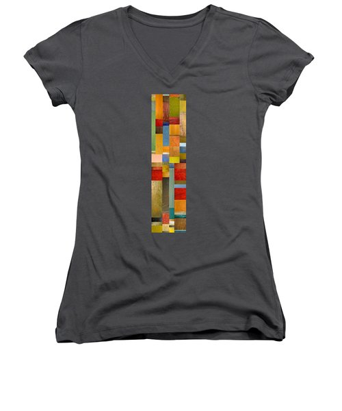 Color Panels With Green Grass Women's V-Neck (Athletic Fit)