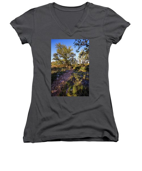 Colorado Bend State Park Gorman Falls Trail #2 Women's V-Neck T-Shirt (Junior Cut)