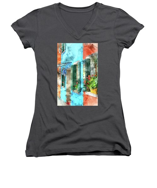 Colorful Houses In Burano Island Venice Italy Women's V-Neck (Athletic Fit)