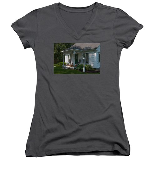 Come Sit On My Porch Women's V-Neck T-Shirt (Junior Cut) by Brenda Jacobs