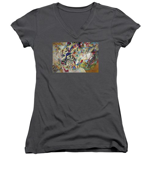 Composition Vii Women's V-Neck T-Shirt (Junior Cut) by Wassily Kandinsky
