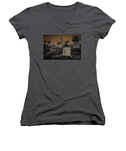Women's V-Neck T-Shirt (Junior Cut) featuring the photograph Consuegra Windmills 2 by Heiko Koehrer-Wagner