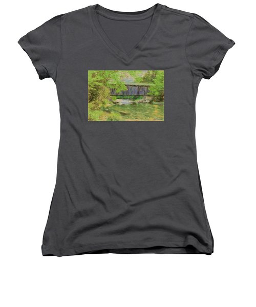 Women's V-Neck T-Shirt (Junior Cut) featuring the digital art Cool And Green And Shady by John Selmer Sr