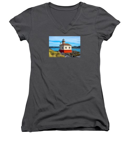Coquille Lighthouse Women's V-Neck T-Shirt (Junior Cut) by Dennis Bucklin