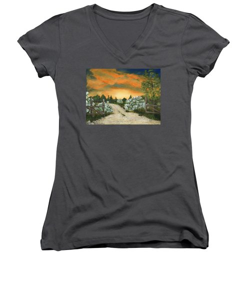 Women's V-Neck T-Shirt featuring the painting Country Road by Anastasiya Malakhova