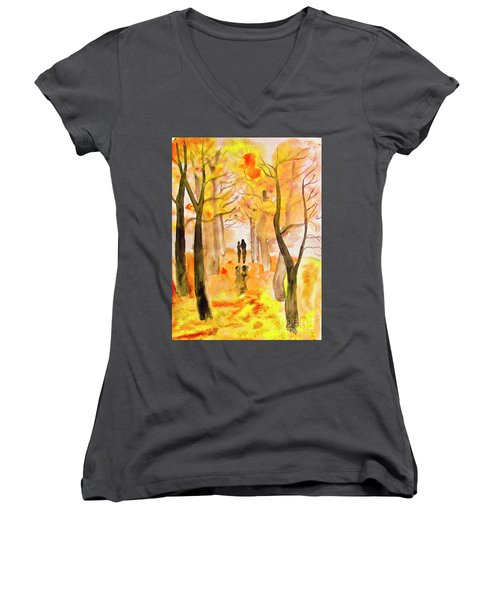 Couple On Autumn Alley, Painting Women's V-Neck T-Shirt (Junior Cut) by Irina Afonskaya