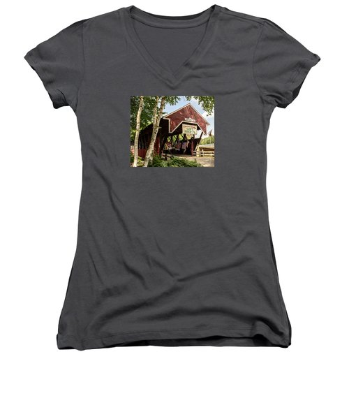 Covered Bridge Gift Shoppe Women's V-Neck T-Shirt (Junior Cut) by Sherman Perry