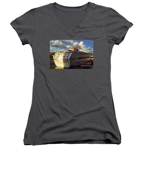 Cruise Ship In Port Women's V-Neck T-Shirt (Junior Cut) by Gary Wonning