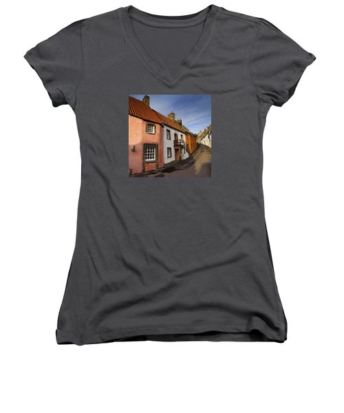 Women's V-Neck T-Shirt (Junior Cut) featuring the photograph Culross by Jeremy Lavender Photography