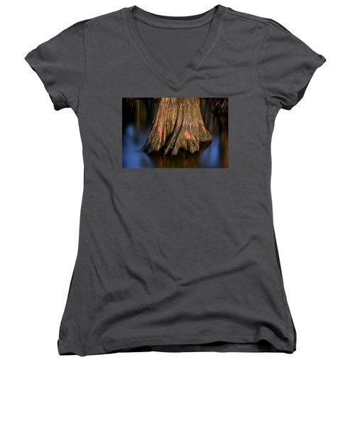 Women's V-Neck T-Shirt (Junior Cut) featuring the photograph Cypress Tree by Evgeny Vasenev