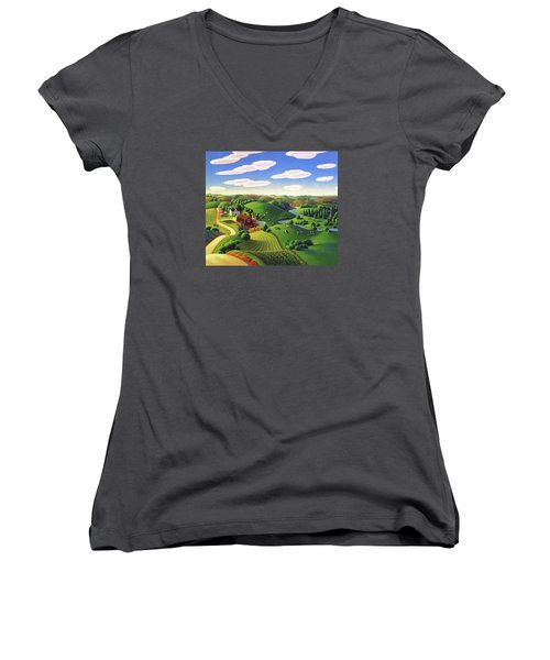 Women's V-Neck T-Shirt (Junior Cut) featuring the painting Dairy Farm  by Robin Moline