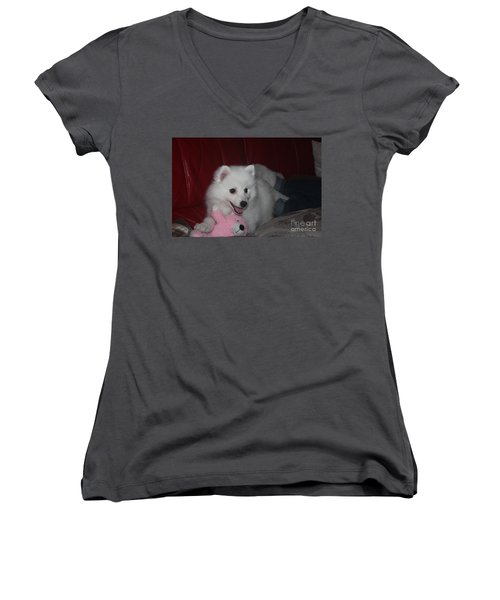 Women's V-Neck T-Shirt (Junior Cut) featuring the photograph Daisy by David Grant