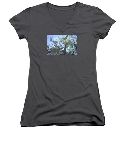 Women's V-Neck T-Shirt (Junior Cut) featuring the photograph Dancing Leaves by Linda Geiger