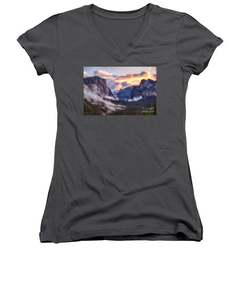 Daybreak Over Yosemite Women's V-Neck (Athletic Fit)