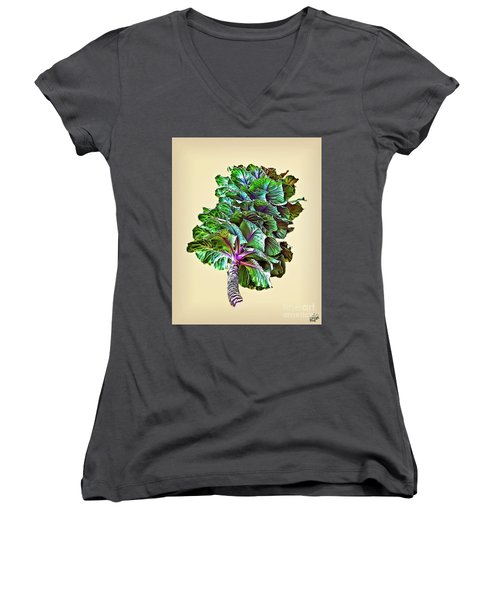 Women's V-Neck T-Shirt (Junior Cut) featuring the photograph Decorative Cabbage by Walt Foegelle