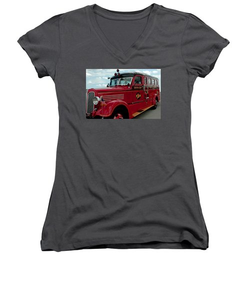 Detroit Fire Truck Women's V-Neck T-Shirt