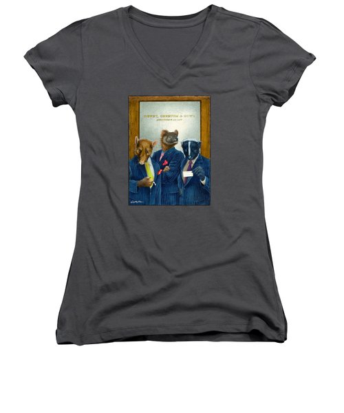 Women's V-Neck T-Shirt (Junior Cut) featuring the painting Dewey, Cheetum And Howe... by Will Bullas