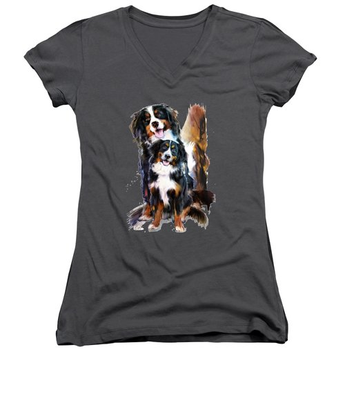 Dog Family Women's V-Neck (Athletic Fit)