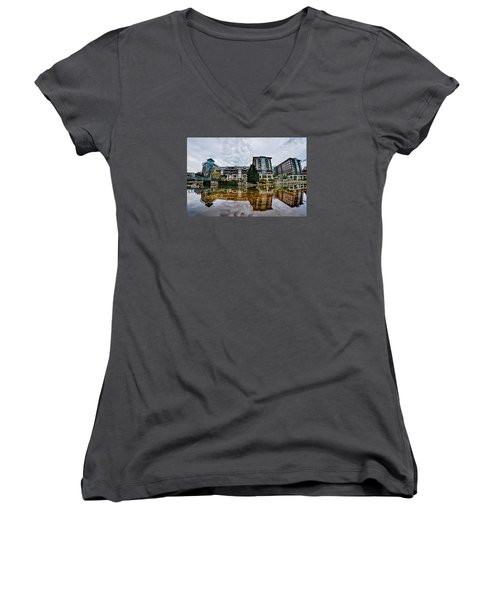 Downtown Of Greenville South Carolina Around Falls Park Women's V-Neck T-Shirt (Junior Cut) by Alex Grichenko