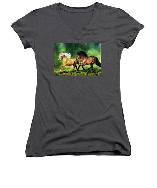 Dream Team Women's V-Neck T-Shirt (Junior Cut) by Shari Nees