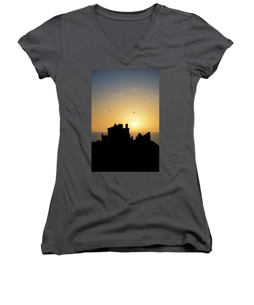Dunnottar Castle Sunrise Women's V-Neck (Athletic Fit)