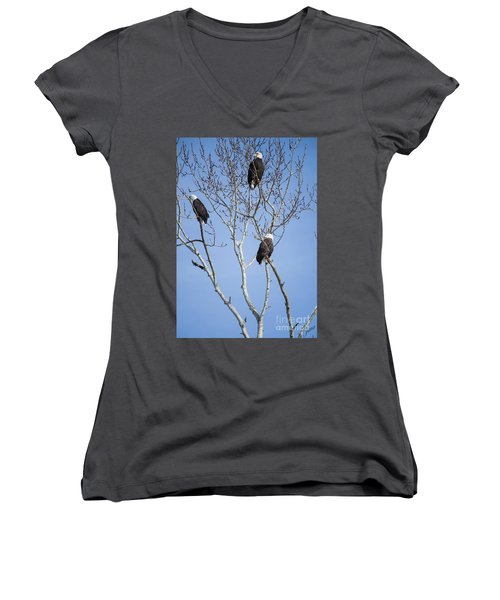 Women's V-Neck T-Shirt (Junior Cut) featuring the photograph Eagles by Jim  Hatch