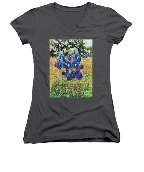 Women's V-Neck T-Shirt (Junior Cut) featuring the painting Early Bloomers by Hailey E Herrera