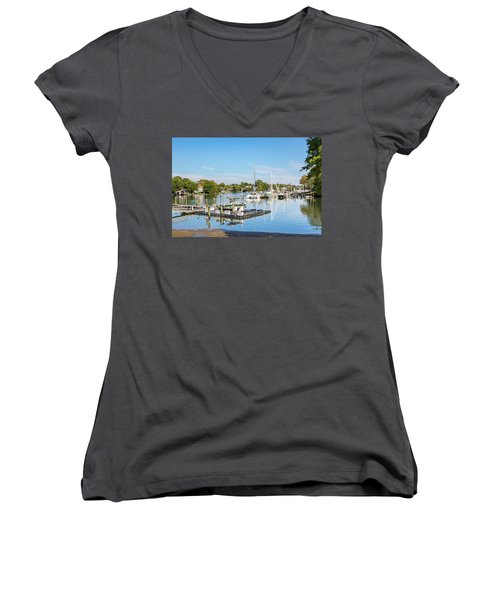 Early Fall Day On Spa Creek Women's V-Neck