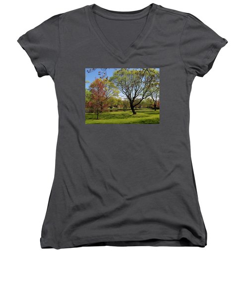 Women's V-Neck T-Shirt (Junior Cut) featuring the photograph Early Spring by John Scates
