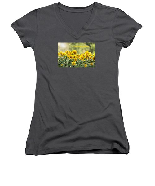 Women's V-Neck T-Shirt (Junior Cut) featuring the photograph Earth Laughs In Flowers by Lila Fisher-Wenzel