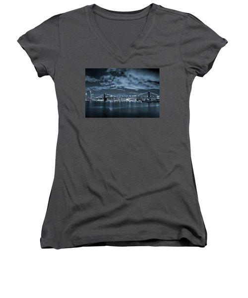 East River View Women's V-Neck T-Shirt (Junior Cut) by Az Jackson
