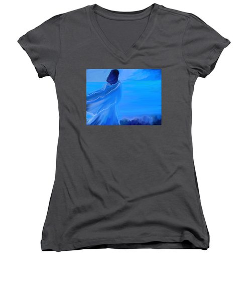 En Attente Women's V-Neck T-Shirt (Junior Cut) by Aline Halle-Gilbert
