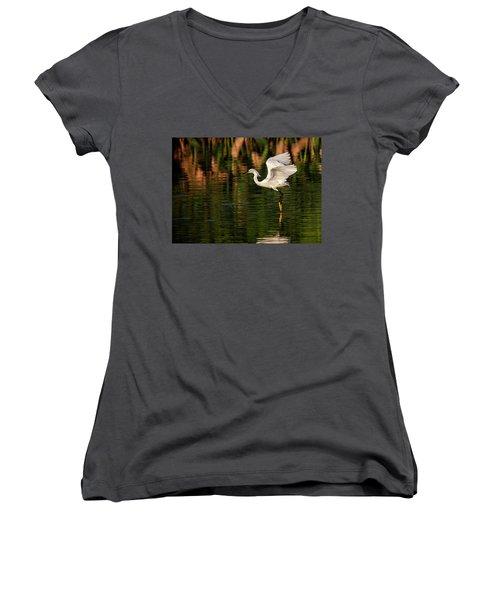 En Pointe Women's V-Neck T-Shirt (Junior Cut) by Cyndy Doty