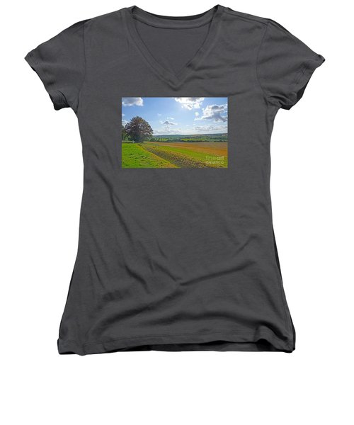 English Countryside Women's V-Neck T-Shirt (Junior Cut) by Andrew Middleton