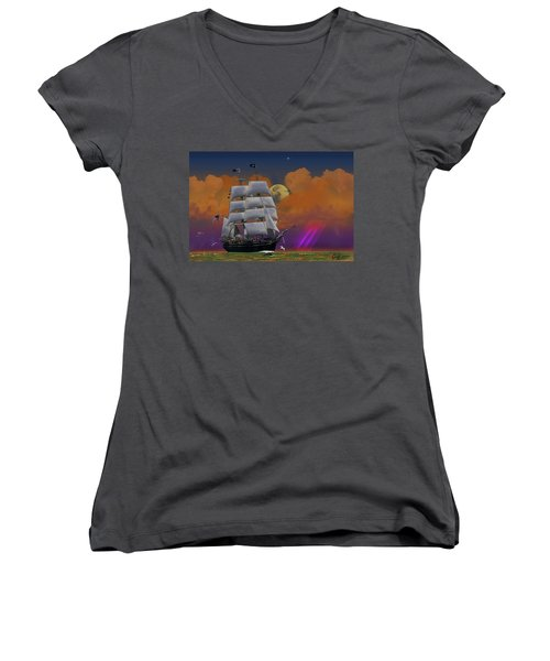 Evening Return For The Elissa Women's V-Neck T-Shirt (Junior Cut) by J Griff Griffin