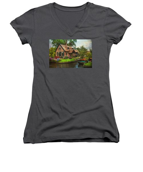 Fairytale House. Giethoorn. Venice Of The North Women's V-Neck