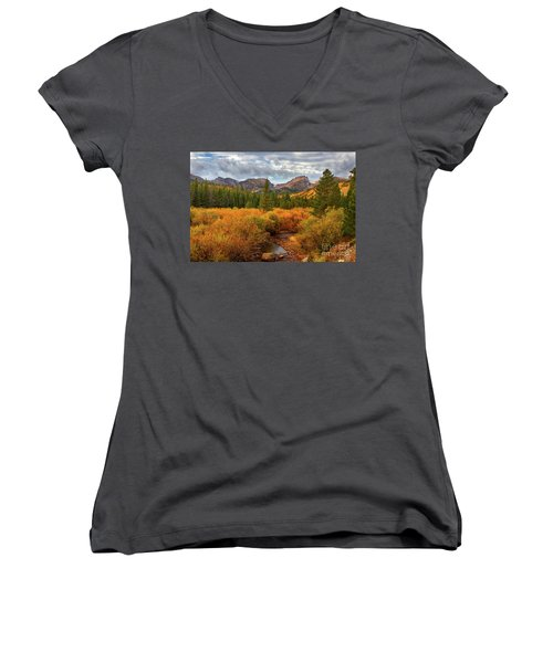 Fall In Rocky Mountain National Park Women's V-Neck T-Shirt (Junior Cut) by Ronda Kimbrow