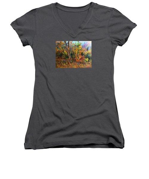 Fall  Women's V-Neck T-Shirt (Junior Cut) by Jieming Wang