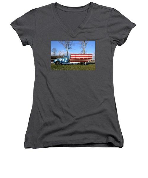 Farm Truck Wading River New York Women's V-Neck (Athletic Fit)