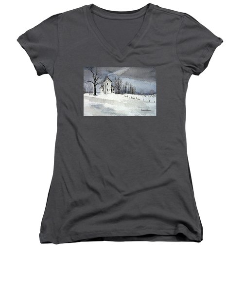 Farmhouse In Winter Women's V-Neck T-Shirt