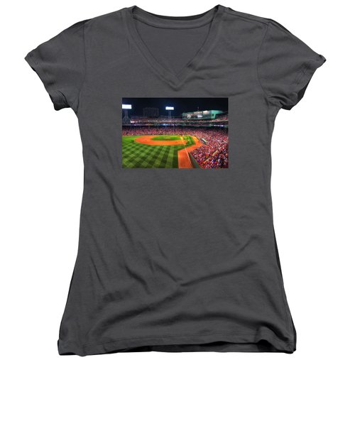 Fenway Park At Night - Boston Women's V-Neck T-Shirt