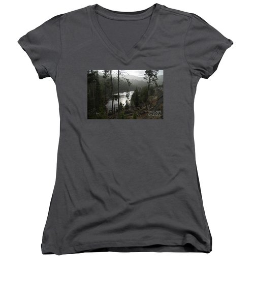 Firehole River In Yellowstone Women's V-Neck T-Shirt