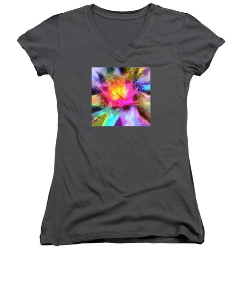 Women's V-Neck T-Shirt (Junior Cut) featuring the photograph Floral Mandala 01 by Jack Torcello